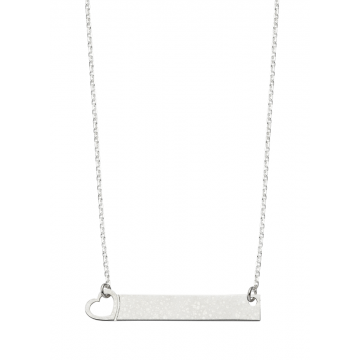 Bar  Name  Necklace With  Heart