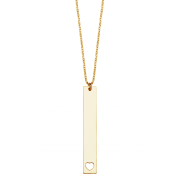 Vertical Name  Bar  Necklace  with Heart