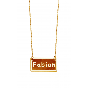Rectangular  Bar  Name  Necklace
