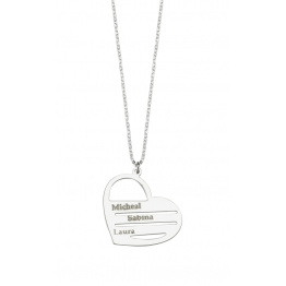 Three Name  Heart  Necklace